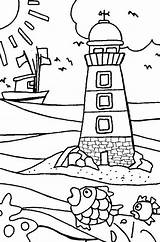 Beach Coloring Pages Lake Erie Lighthouse Printable Lighthouses sketch template