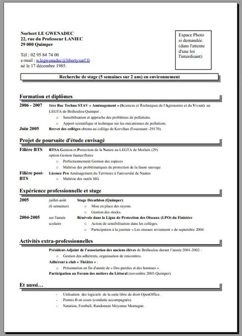 Comment Faire Un Cv 2016 by Comment Cr 233 Er Un Cv Ex Cv 2016 Psco