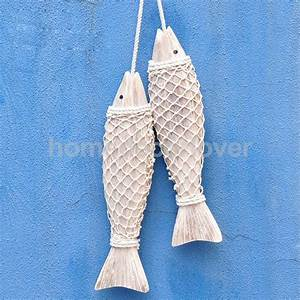 Rustic coastal hand carved hanging wood marine fish