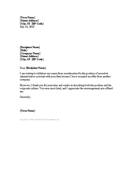 Letter Withdrawing Job Application After Accepting Another Offer | Letter template word