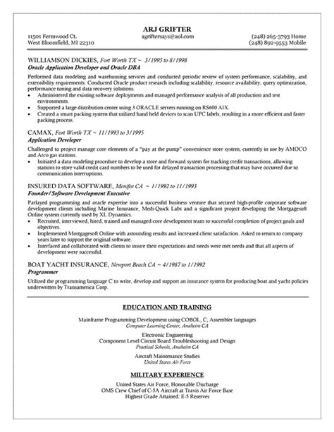 Dba Manager Resume by Oracle Dba Resume Exle