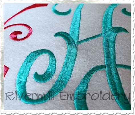 large arabesque monogram machine embroidery font alphabet  rivermill embroidery
