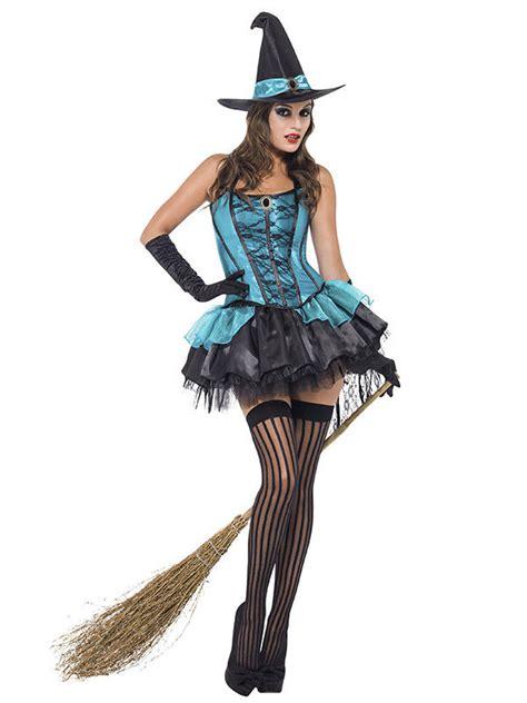 sexy hexe halloween damenkostuem tuerkis schwarz guenstige
