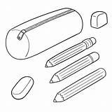Pencil Case Clip Trousse Vector Illustrations Plastic Clipart Ecolier Vecteur Ensemble Vectorreeks Graphisme Gemengde Dieren Geplaatst Tekeningsillustratie Illustratie sketch template