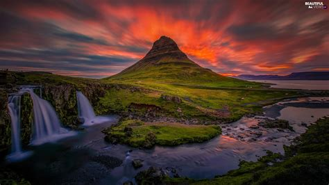 Iceland Waterfall Great Sunsets Kirkjufell Mountain