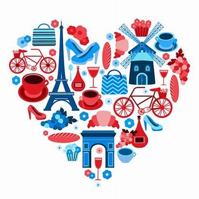 Paris Heart Symbol Icons Vector Elements Cultural
