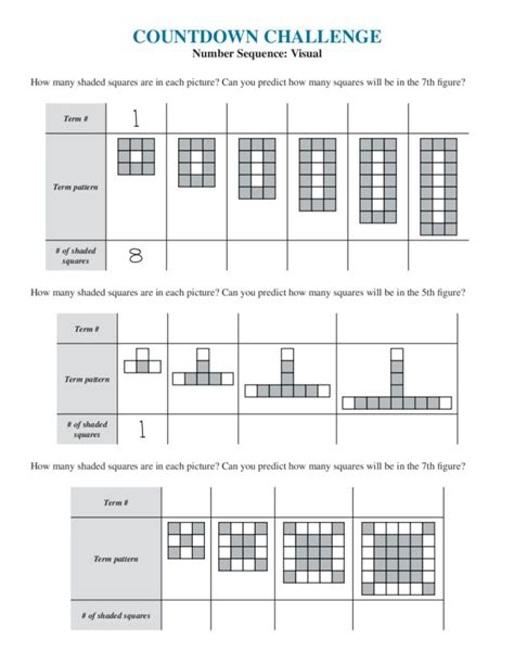 sequence worksheets 7th grade math arithmetic and