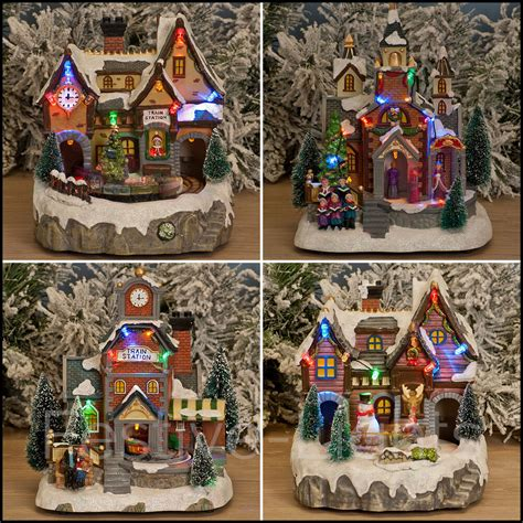multi colour led indoor christmas xmas musical village