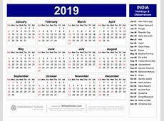 Next Year Calendar 2019 India Chrismast and New Year 2019