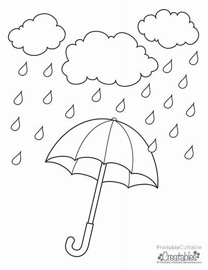 Rainy Coloring Pages Printable Umbrella Drawing Clipart