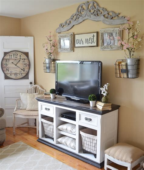 rooms to go console table easy farmhouse style tv stand makeover vintage nest