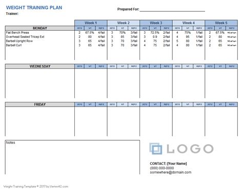 Training Module Template Exle by Weight Training Plan Template For Excel