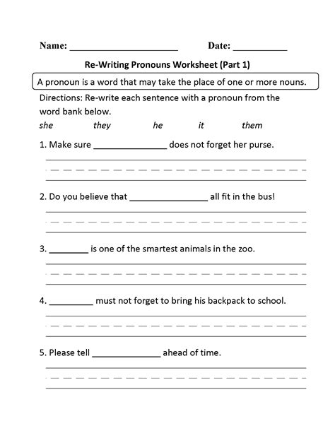 Pronoun Worksheets For Grade 2 Turtlediary  Worksheet Example