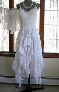 white off white boho gypsy hippie alternative bride With recycled wedding dresses
