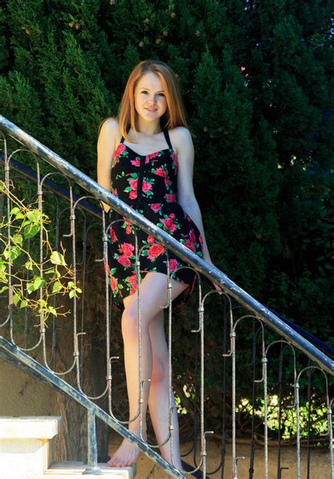 Teen Redhead Starts Taking Dress Off On The Stairs And