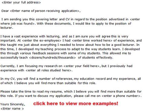 job application letter lecturer position sample cover