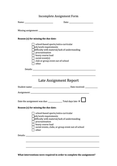 incomplete assignment form printable