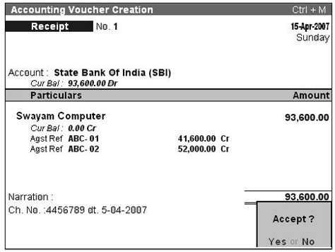 accounting receipts receipt f6 accounting voucher in tally erp 9