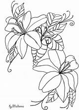 Flowers Drawing Line Flower Drawings Coloring Pages Deviantart Outlines Sketches Pattern Clip Floral Colouring Sketch Painting Draw Embroidery Bunch Bloemen sketch template