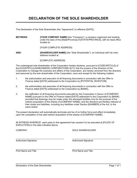 Declaration Document Template by Declaration Of The Sole Shareholder Template Sle