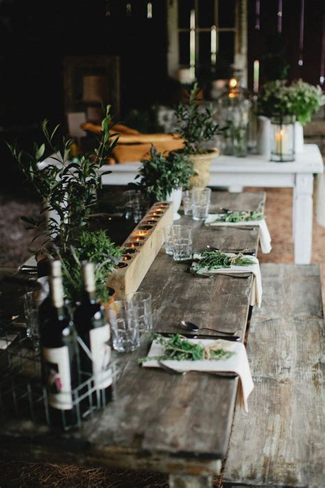 rustic table setting lunch latte styling herbs and rustic elements