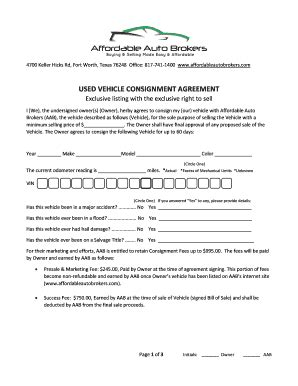 printable consignment agreement  forms  templates