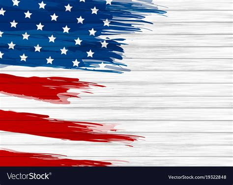 Usa Background Usa Flag Paint On White Wood Background Royalty Free Vector