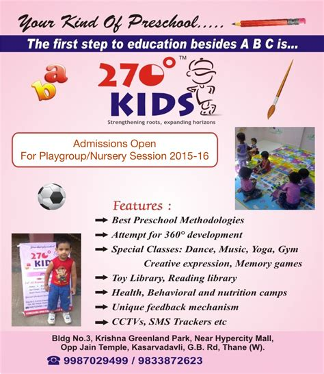 admission brochure 270 degree pre school in thane 935 | admission brochure