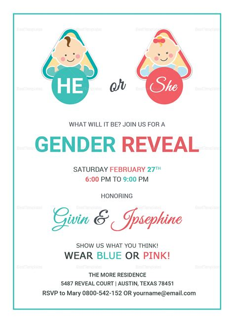 baby gender reveal invitation card design template  word