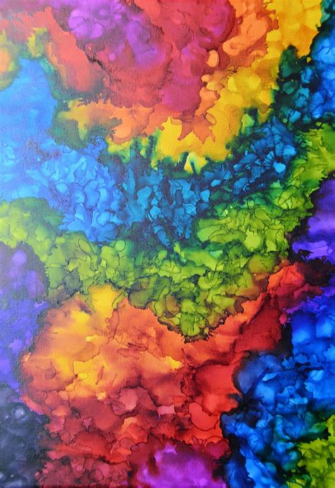 Colorful Abstract Alcohol Ink Painting On 18 X 24 Canvas