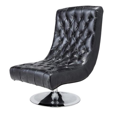 fauteuil de salon cuir noir vintage bossley maisons du monde