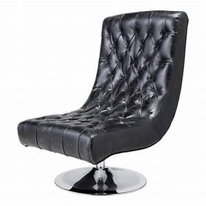 Fauteuil de salon cuir noir vintage bossley maisons du monde for Fauteuil salon cuir noir