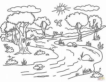 Coloring Pages Printable Landscape River Nature Forest