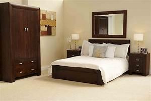 Michigan dark wood bedroom furniture 539 king size bed ebay for Dark wood furniture