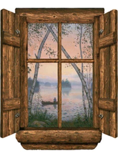Log Cabin Windows Log Cabin Window Fishermans Dream Wall