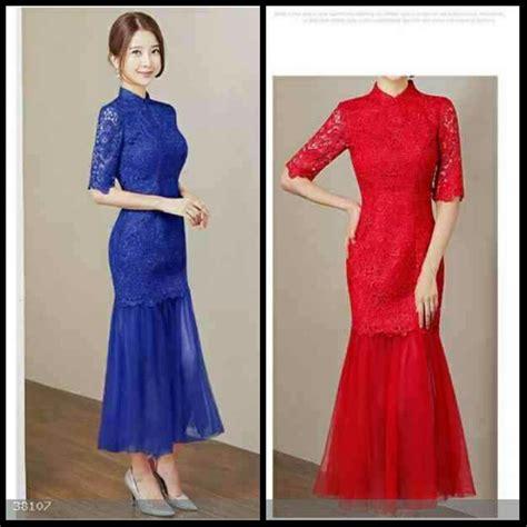 jual long dress gaun pesta natal long dress merah