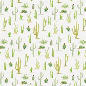 Watercolor Cactus Fabric by the Yard Red Fabric