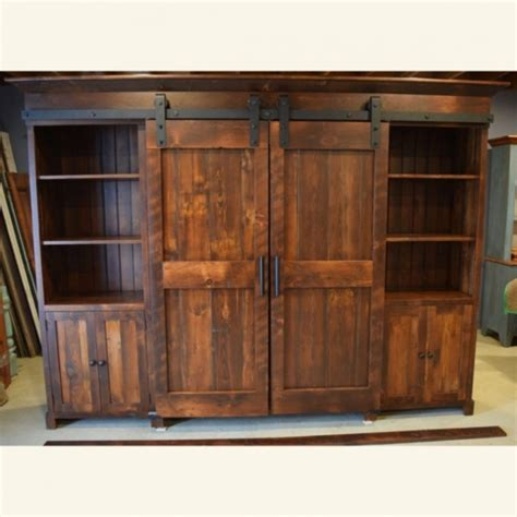 entertainment cabinet with doors rustic low profile barn door entertainment cabinet