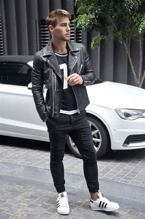 Stylish Spring Men Outfits With Leather Jacket