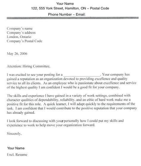 cover letter template government  canada  cover