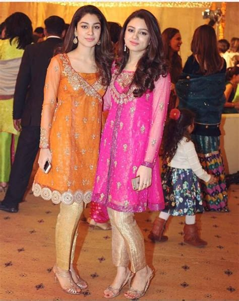 orange  sister   groom pakistani dresses