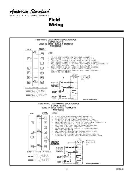 Field Wiring American Standard Freedom User Manual
