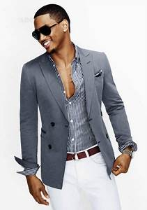 Men's style: charcoal jacket, striped shirt & white pants ...