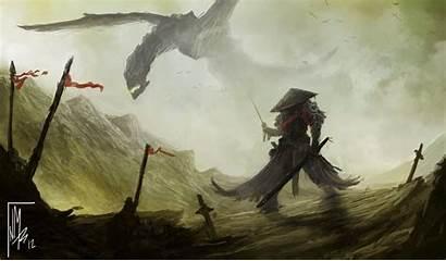 Samurai Dragon Deviantart Japanese Wallpapers Fantasy Drawings