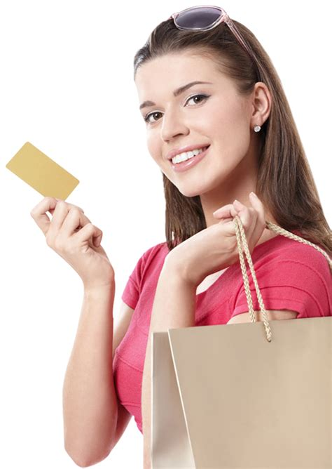 happy young woman holding shopping bags  visa credit
