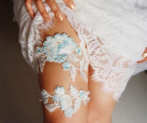 Wedding Garter Set Bridal Garter Belt  Ivory Blue Garter