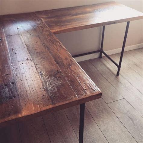 shaped desk reclaimed wood desk pipe legs