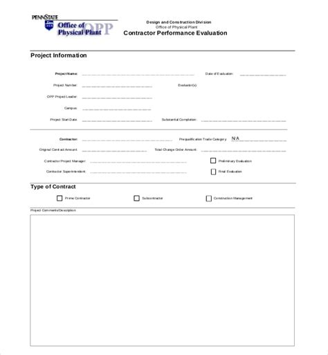contractor safety performance evaluation form 9 sle construction management forms sle forms