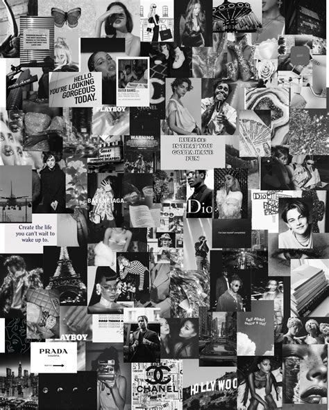 80 pcs black and white aesthetic collage kit etsy in