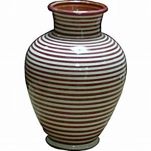 Vase En Céramique : vase marocain en c ramique rayures rouges et blanches ~ Teatrodelosmanantiales.com Idées de Décoration
